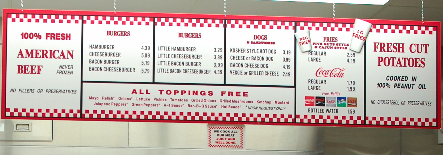 Burgers Hot Dogs Menu Things Burgers Hot Dogs