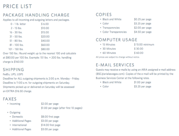 hotel price list
