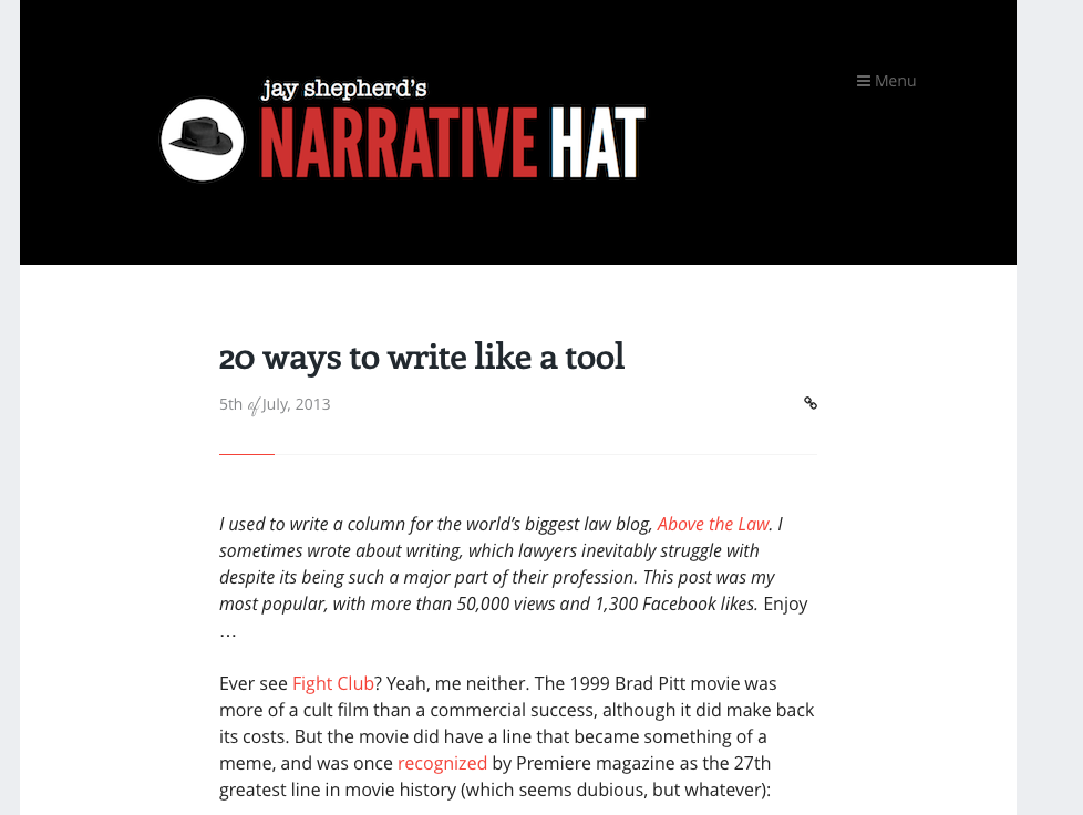 narrative hat screenshot